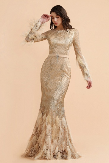 BMbridal Glamorous Jewel Lace Appliques Prom Dresses Long Sleeves Mermaid Formal Dresses with Fur_5