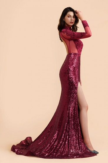 BMbridal Sexy High-Neck Burgundy Sequined Slit Prom Dresses Long Sleeves Appliques Backless Formal Dress with Sheer Top_4