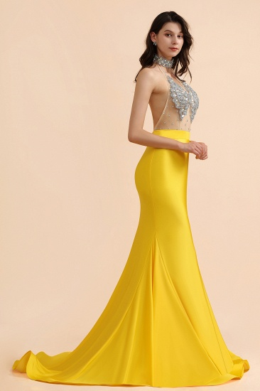 BMbridal Sexy Yellow Halter Backless Prom Dress Long Mermaid With Crystals_6