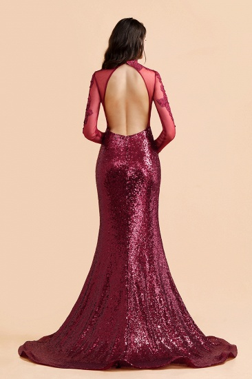 BMbridal Sexy High-Neck Burgundy Sequined Slit Prom Dresses Long Sleeves Appliques Backless Formal Dress with Sheer Top_3