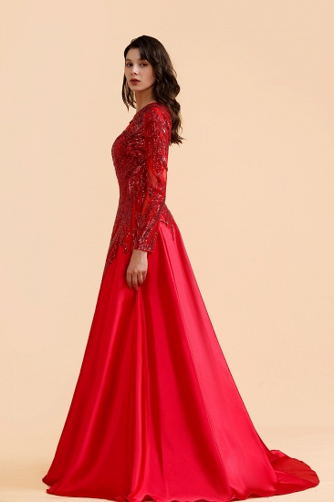 BMbridal Chic One-Shoulder Red Sequined Prom Dresses One-Sleeve Sexy Party Dress On Sale_7