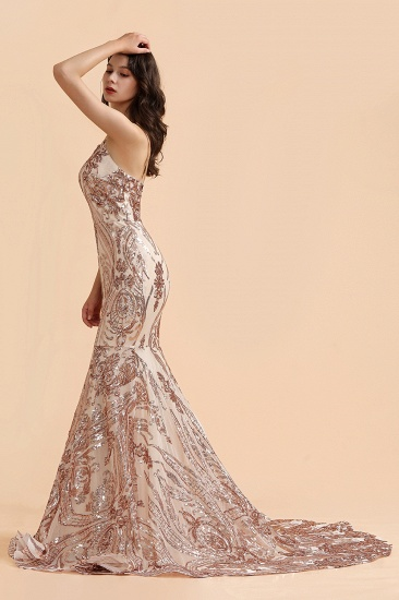 BMbridal Sexy V-Neck Rose Gold Prom Dress Mermaid Long Sequins Evening Party Gowns_5