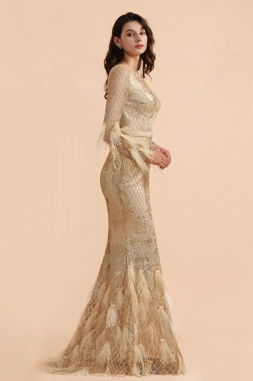 BMbridal Glamorous Jewel Lace Appliques Prom Dresses Long Sleeves Mermaid Formal Dresses with Fur_7