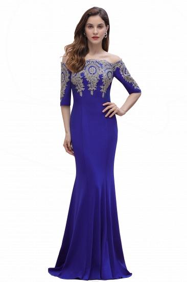 BMbridal Mermaid Off-Shoulder Chiffon Lace Half Sleeve Evening Dress_3
