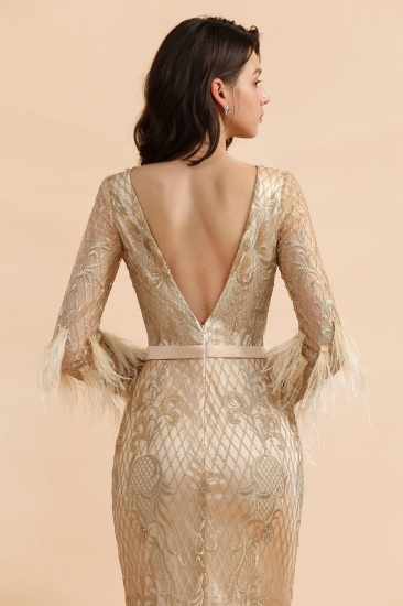BMbridal Glamorous Jewel Lace Appliques Prom Dresses Long Sleeves Mermaid Formal Dresses with Fur_9