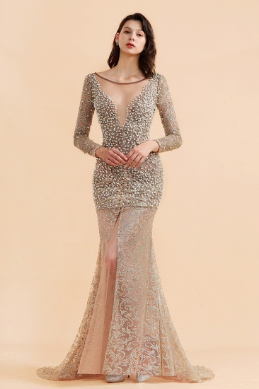BMbridal Glamorous Jewel Lace Front Slit Prom Dresses Long Sleeves Appliques Formal Dresses with Pearls_4