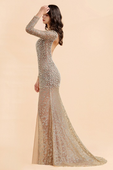 BMbridal Glamorous Jewel Lace Front Slit Prom Dresses Long Sleeves Appliques Formal Dresses with Pearls_7