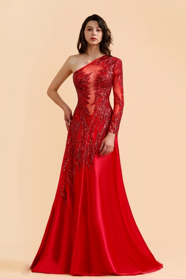 BMbridal Chic One-Shoulder Red Sequined Prom Dresses One-Sleeve Sexy Party Dress On Sale_2
