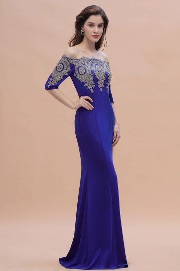BMbridal Mermaid Off-Shoulder Chiffon Lace Half Sleeve Evening Dress_7