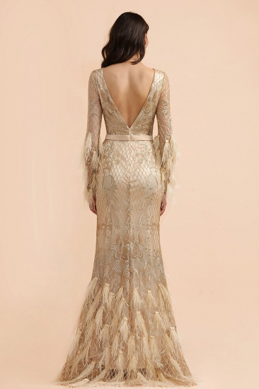 BMbridal Glamorous Jewel Lace Appliques Prom Dresses Long Sleeves Mermaid Formal Dresses with Fur_3