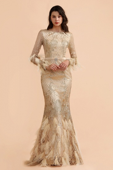 BMbridal Glamorous Jewel Lace Appliques Prom Dresses Long Sleeves Mermaid Formal Dresses with Fur_4