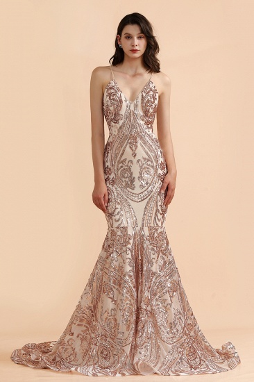 BMbridal Sexy V-Neck Rose Gold Prom Dress Mermaid Long Sequins Evening Party Gowns_3