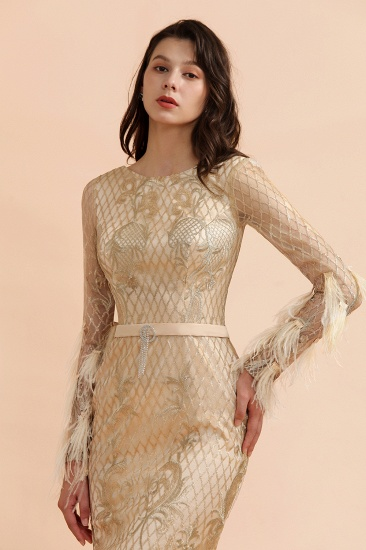 BMbridal Glamorous Jewel Lace Appliques Prom Dresses Long Sleeves Mermaid Formal Dresses with Fur_8