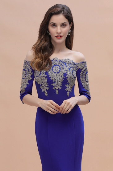BMbridal Mermaid Off-Shoulder Chiffon Lace Half Sleeve Evening Dress_11