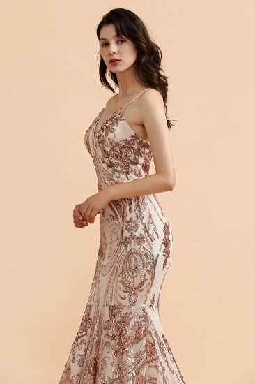BMbridal Sexy V-Neck Rose Gold Prom Dress Mermaid Long Sequins Evening Party Gowns_7
