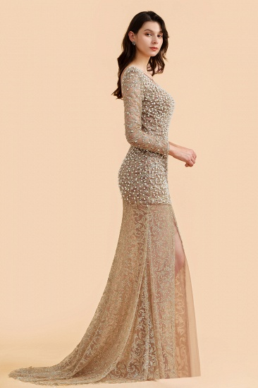 BMbridal Glamorous Jewel Lace Front Slit Prom Dresses Long Sleeves Appliques Formal Dresses with Pearls_6