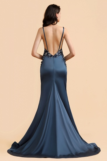 BMbridal Affordable Spaghetti Straps V-Neck Prom Dresses Sleeveless Appliques Beadings Party Dresses Online_3