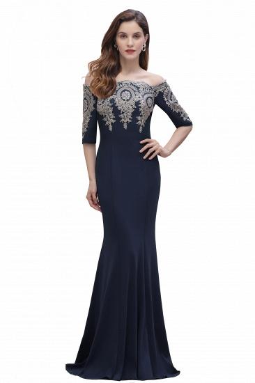 BMbridal Mermaid Off-Shoulder Chiffon Lace Half Sleeve Evening Dress_4