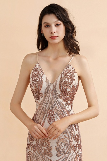 BMbridal Sexy V-Neck Rose Gold Prom Dress Mermaid Long Sequins Evening Party Gowns_9