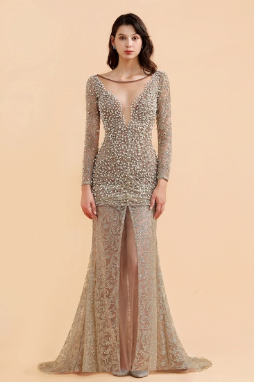 BMbridal Glamorous Jewel Lace Front Slit Prom Dresses Long Sleeves Appliques Formal Dresses with Pearls_1