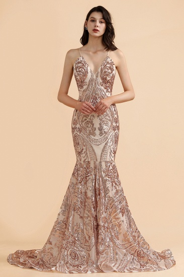 BMbridal Sexy V-Neck Rose Gold Prom Dress Mermaid Long Sequins Evening Party Gowns_6