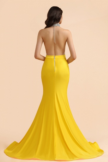 BMbridal Sexy Yellow Halter Backless Prom Dress Long Mermaid With Crystals_4