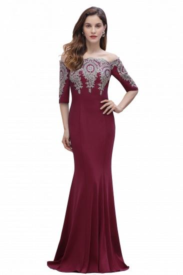 BMbridal Mermaid Off-Shoulder Chiffon Lace Half Sleeve Evening Dress_1