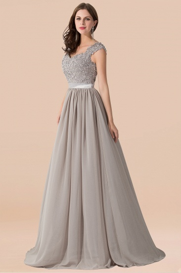 BMbridal Vintage Silver Sleeveless Long Bridesmaid Dress With Appliques_5