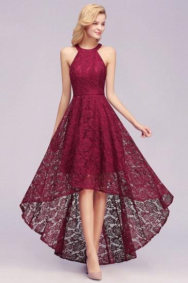 BMbridal Halter Sleeveless Sheath Asymmetrical Burgundy Lace Dress_4
