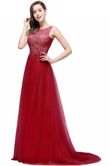 BMbridal A-line Court Train Tulle Evening Dress with Appliques_4
