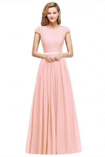 BMbridal A-line Jewel Short Sleeves Chiffon Lace Bridesmaid Dress_10