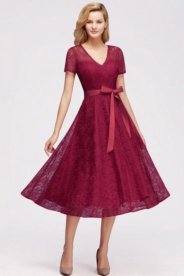 BMbridal V-neck Short Sleeves Lace Dress with Bow Sash_3