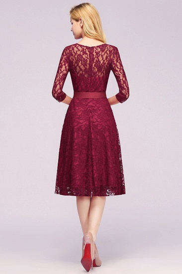 BMbridal Vintage A-line Burgundy Lace Dress with Sleeves_4