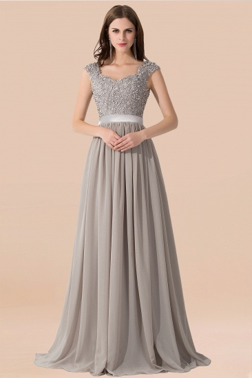BMbridal Vintage Silver Sleeveless Long Bridesmaid Dress With Appliques_2
