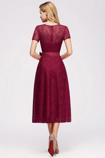 BMbridal V-neck Short Sleeves Lace Dress with Bow Sash_6