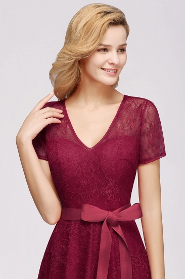 BMbridal V-neck Short Sleeves Lace Dress with Bow Sash_7