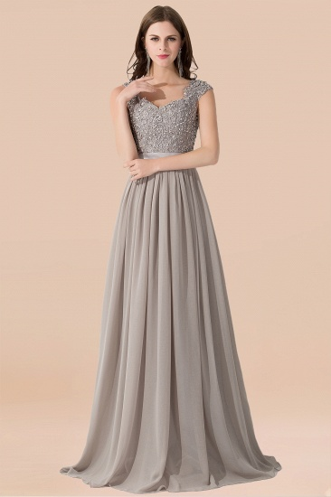BMbridal Vintage Silver Sleeveless Long Bridesmaid Dress With Appliques_4