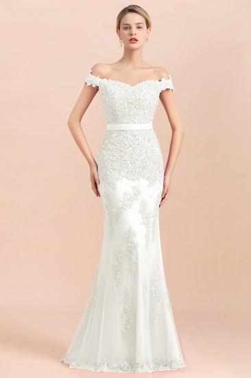 BMbridal Elegant Mermaid Off the Shoulder Red Lace Appliques Bridesmaid dresses_1