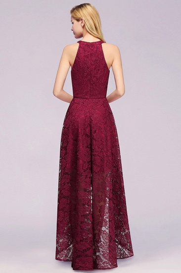 BMbridal Halter Sleeveless Sheath Asymmetrical Burgundy Lace Dress_5