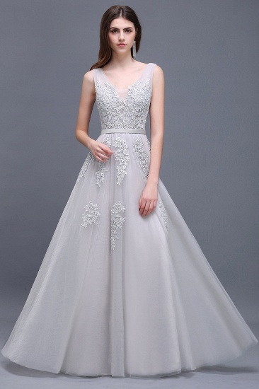 BMbridal V-Neck Sleeveless Lace Appliques Bridesmaid Dress