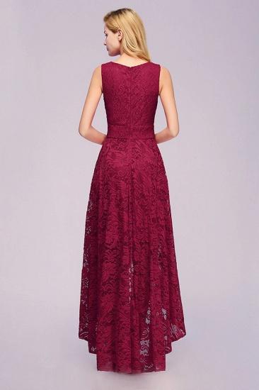 BMbridal A-line Hi-lo V-neck Sleeveless Burgundy Lace Dress_3