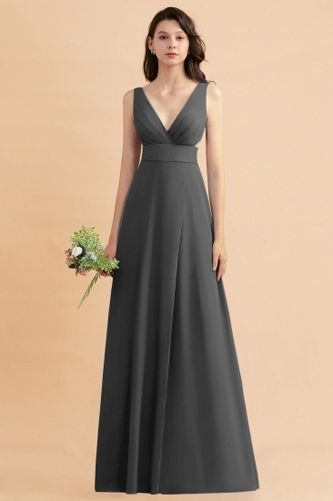 BMbridal A-Line Dusty Blue Chiffon Ruffles Bridesmaid Dress with Slit_46
