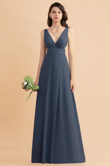 BMbridal A-Line Dusty Blue Chiffon Ruffles Bridesmaid Dress with Slit_39