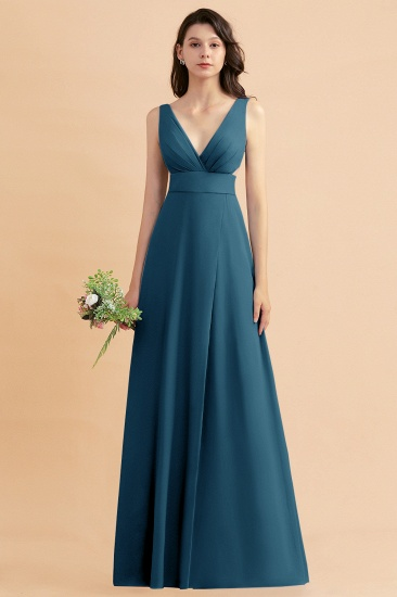 BMbridal A-Line Dusty Blue Chiffon Ruffles Bridesmaid Dress with Slit_27