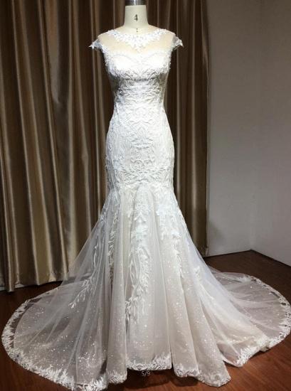 BMbridal Cap Sleeves Lace Mermaid Long Wedding Dresses_7