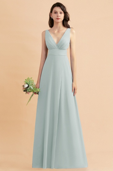 BMbridal A-Line Dusty Blue Chiffon Ruffles Bridesmaid Dress with Slit_38