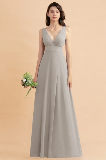 BMbridal A-Line Dusty Blue Chiffon Ruffles Bridesmaid Dress with Slit_30
