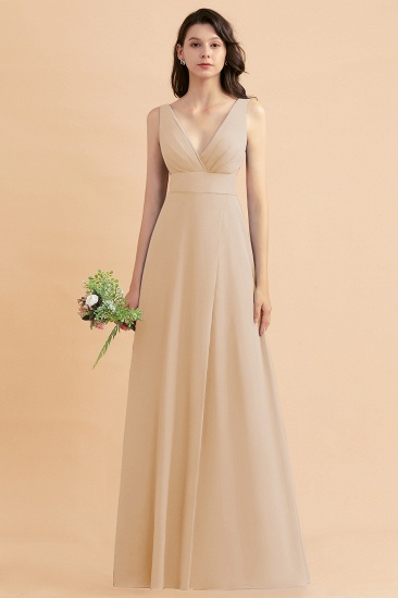 BMbridal A-Line Dusty Blue Chiffon Ruffles Bridesmaid Dress with Slit_14