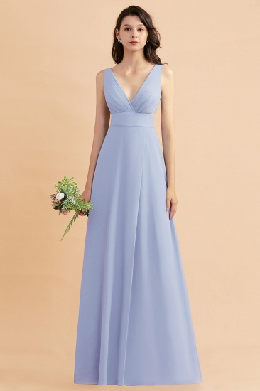 BMbridal A-Line Dusty Blue Chiffon Ruffles Bridesmaid Dress with Slit_22