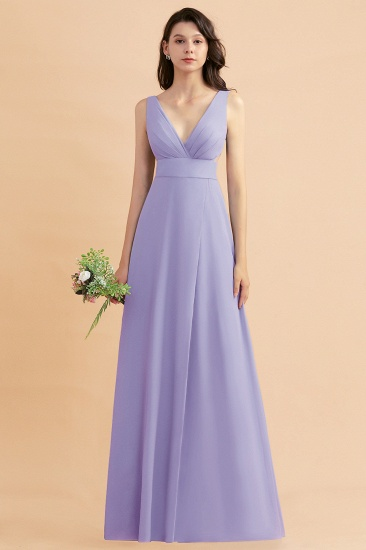 BMbridal A-Line Dusty Blue Chiffon Ruffles Bridesmaid Dress with Slit_21